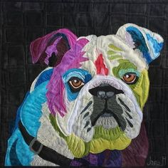 Paper Embroidery Dazzling Dogs Make this quilt at Houston 2018 Jane Haworth quilt teacher - Dog Quilts, Cat Quilt, Animal Quilts, Fabric Painting, Fabric Art, Collage Techniques, Paper Embroidery, Embroidery Patterns, Applique Quilts