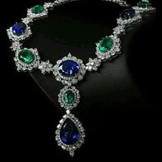 @thejewellcloset . Stunning Sapphire , Diamond & Emerald necklace #diamondpendantnecklace #emeraldnecklace