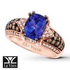 LeVian Tanzanite Ring 1/2 ct tw Diamonds 14K Strawberry Gold