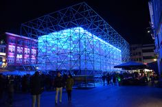Teatro Del Mondo, A Temporary Light Installation for GLOW 2014, Eindhoven, Netherlands. By Dr. Lars Meeß-Olsohn, leichtbaukunst and Ali Heshmati, LEADinc with Andreas Pasieka sound design. Picture curtsy of Paul via Flickr.