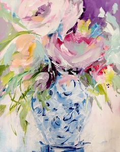 Blissful Bouquet by Susan Pepe Abstract Flowers, Watercolor Flowers, Watercolor Paintings, Floral Paintings, Sculpture Textile, Guache, Spring Art, Painting Inspiration, Flower Art