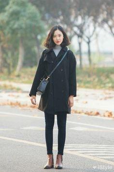 Women's Black Coat, Grey Turtleneck, Black Skinny Jeans, Brown Leather Chelsea Boots