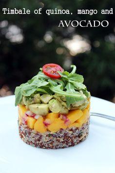 Timbale of quinoa, mango, and avocado – Mi Diario de Cocina Cucumber Recipes, Sushi Recipes, Raw Food Recipes, Gourmet Recipes, Salad Recipes, Vegetarian Recipes, Cooking Recipes, Healthy Recipes, Flour Recipes