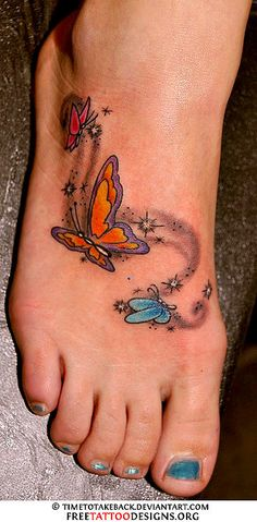 Butterfly Tattoos On Foot |