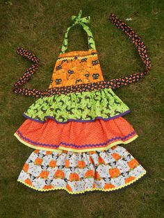 Women's Halloween Apron Ruffled Tiers Black by ArtyApronsAndSuch