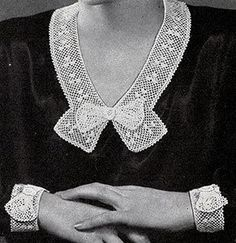 Irish Rose Collar and Cuffs ~ Free Vintage Crochet