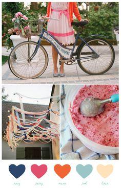 Party Palette: Vintage Bike Blue - The Sweetest Occasion Wedding Color Schemes, Wedding Colors, Wedding Ideas, Pink Blue Weddings, Palette, Coordinating Colors, Vintage Colors, Vintage Pink, Flower Delivery