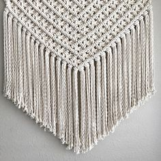 Large Macrame Wall Hanging - Made to Order Expect 2-3 weeks for delivery! This wall hanging is made with 100% cotton rope and will measure 30 inches wide by 34 inches long and will hang on a 36 inch Brass rod. It is a one-of-a-kind piece piece, designed by me. I will reproduce to my Macrame Design, Macrame Art, Macrame Knots, Nautical Gifts, Large Macrame Wall Hanging, Craft Corner, Macrame Patterns, Cotton Rope, Baby Blanket Crochet