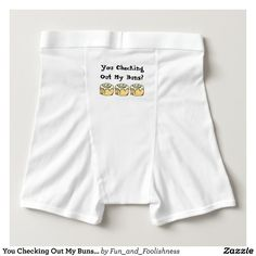 You Checking Out My Buns? Men's Funny Boxer Briefs Underwear.  Text can be customized. Cute cartoon cinnamon roll sweet honey buns design with funny quote on the butt makes a great gag gift for someone who likes baking, food, or dessert humor or who just loves the sweet buns - baker, pastry chef, foodie, workout / exercise enthusiast, or the guy proud of his booty.  Cute funny boxer shorts briefs for a no pants party or gag gift. #funnyunderwear #nopants #sweetbuns #cinnamonrollgifts