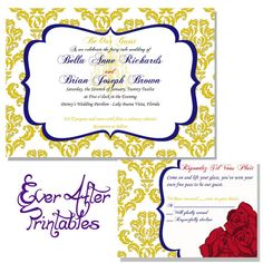 Beauty and the Beast wedding invitations! although ours will have our engagement photos on it! ;)