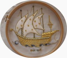 White Goldwork Ship ~ embroidery by Elizi   Hobby embroidery, cake, painting, polymer clay, design and life on everything ...: Gold Embroidery