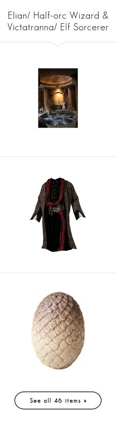 """""""Elian/ Half-orc Wizard & Victatranna/ Elf Sorcerer"""" by desert-witch ❤ liked on Polyvore featuring tops, tunics, medieval, men, palomides, home, home decor, office accessories, weapons and men's fashion"""