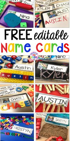 FREE Editable Name Cards perfect to use all over the classroom to help preschool, pre-k, and kindergarten kiddos learn their names. names preschool learnnames pre-k namecards 440719513530795544 Kindergarten Names, Preschool Names, Kindergarten Writing, Kindergarten Graduation, Preschool Name Recognition, Kindergarten Literacy Stations, Kindergarten Morning Work, Kindergarten Portfolio, Beginning Of Kindergarten
