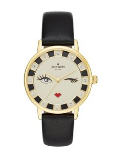 kiss everyday style goodbye with this cheeky kate spade new york metro watch. a black leather band anchors the gold-tone case and cream dial accented with crystal indexes and a winking face.