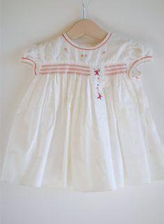 ccc7596f923 Smocked Bishop Dress with Monogram Smocking Blue on White or White on Blue