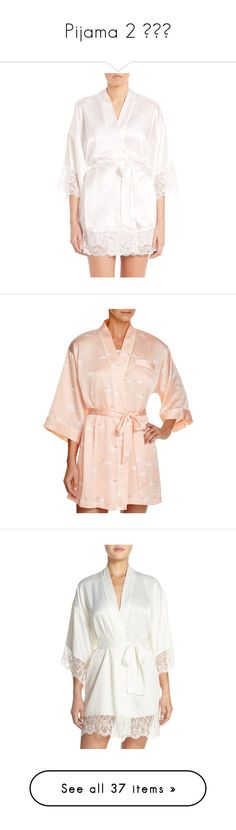 """""""Pijama 2 ✨💤🌌"""" by deeplove111 ❤ liked on Polyvore featuring intimates, robes, apparel & accessories, ivory, bride robe, embroidered bathrobes, bride satin robe, tie belt, lace robe and swan"""