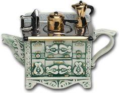 ✿Green & Turquoise Teapot✿ French Stove Teapot