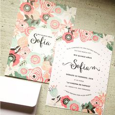 XV años                                                                                                                                                                                 Más Quince Invitations, Shower Invitations, Birthday Invitations, Wedding Invitations, Sweet Fifteen, Sweet 15, Floral Invitation, Invitation Cards, Ideas Para Fiestas