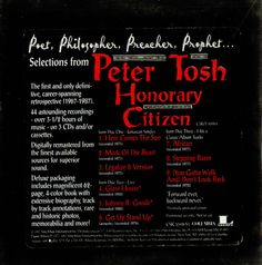 For Sale - Peter Tosh Selections From Honorary Citizen USA Promo  CD album (CDLP) - See this and 250,000 other rare & vintage vinyl records, singles, LPs & CDs at http://eil.com