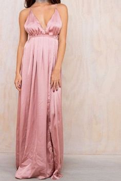 High Slit Satin Maxi Dress
