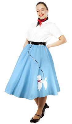 1950s 50s Felt Poodle Skirt In Blue For Adults More Color Choices Red