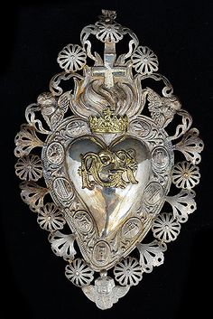 "talian Antique Silver Sacred Heart Ex-Voto ""PGR"" Per Grazie Recevuta, Italian for Grace or Favor Received) with Seraphims"