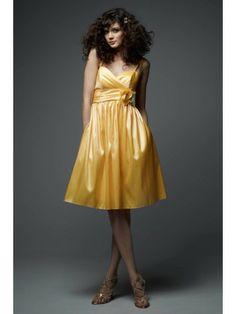Taffeta Mini Ball Gown Spaghetti Straps Surplice Bodice Knee-Length Bridesmaid Dress