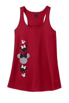 Who doesnt love Minnie Mouse? This adorable Minnie Mouse Glitter Racerback Tank Top features 5 Minnie Mouse silhouettes down the side of the front,