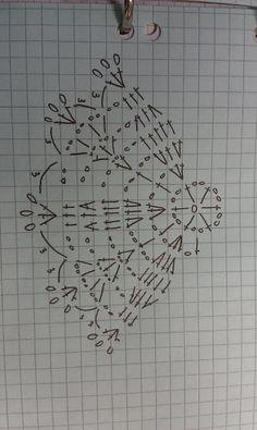 Tina's handicraft : long sleeve crochet tonic with various motifs Crochet Diagram, Crochet Chart, Crochet Motif, Crochet Doilies, Crochet Patterns, Crochet Snowflake Pattern, Crochet Flower Tutorial, Crochet Snowflakes, Crochet Ball