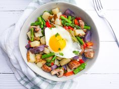 Asparagus, Mushroom and Potato Hash — Julia & Libby Potato Hash, Recipe Images, Potato Recipes, Cobb Salad, Asparagus, Breakfast Recipes, Stuffed Mushrooms, Potatoes, Lunch