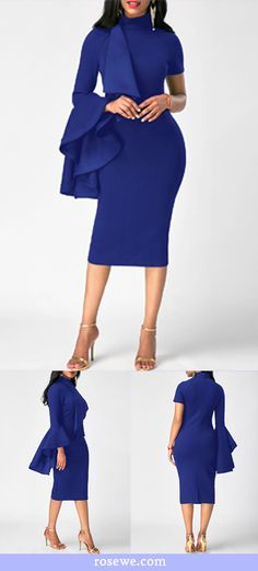 Flouncing High Neck Back Slit Sheath Dress on sale, navy blue midi dress, fashionable pattern attract the attention of people, don't wait, go rosewe,com and  look at others styles of products