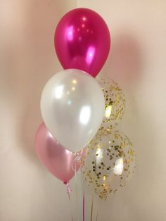 5 Balloon Helium Arrangement With Confetti Balloons