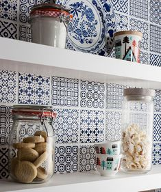 Kitchen. Accessories for kitchen design and decoration using mounted wall thick white kitchen shelving including dark blue patterned tile Moroccan tiles kitchen backsplash and round vintage glass jar kitchen decor. Cool kitchen decorations with Moroccan tiles kitchen backsplash