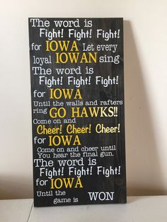 Iowa Hawkeyes Fight Song Sign by MearsCreations on Etsy