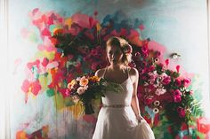 art + floral backdrop