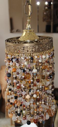 Vintage 1960's Style Beaded Pieced Light by furandgoldvintage, $125.00