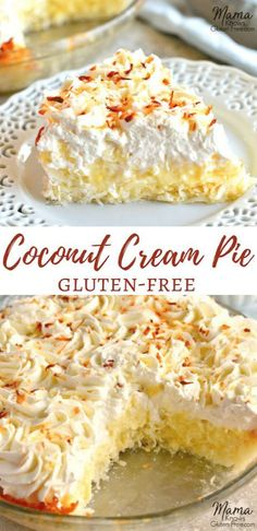 Gluten-Free Coconut Cream Pie {Dairy-Free Option} Gluten-Free Coconut Cream Pie {Dairy-Free Option},No Gluten! Sweet and creamy Gluten-Free Coconut Cream Pie. An easy coconut macaroon crust with a vanilla and coconut custard filling topped with. Gluten Free Sweets, Gluten Free Baking, Gluten Free Recipes, Baking Recipes, Dessert Recipes, Raw Desserts, Gluten Free Coconut Macaroons, Vegan Baking, Gluten Free Dairy Free Desserts