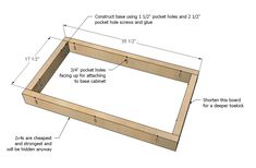 Plans for building kitchen cabinets Using glue and finish But just in case on your end The leading guide on how to build cabinets and cabinet construction with you Building Kitchen Cabinets, Kitchen Base Cabinets, Built In Cabinets, Custom Cabinets, Kitchen Sink, Ana White, Woodworking Plans, Woodworking Projects, Woodworking Blueprints