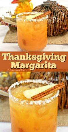 A smooth, sweet, and spicy fall themed cocktail, this Thanksgiving Margarita is a treat for the taste buds! An easy and delcious tequila drink!