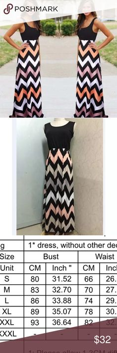 Gorgeous maxi chevron dress Maxi black sleeveless chevron dress. Multicolor bottom. Material cotton blend. Comes in small -xxl please order one size up or check size chart Dresses Maxi