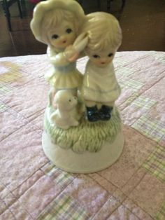 Vintage Porcelain Music Box Figures Girl Cutting Boy Hair Unmarked Reduced!!!! in Collectibles | eBay