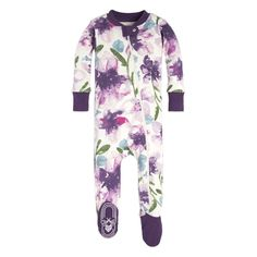 47d596e6e Watercolor Daylily Organic Baby Zip Up Footed Pajamas