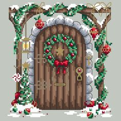 Christmas Fairy Door Cross Stitch Design by Shannon Wasilieff of Shannon Christine Designs. Welcome the elves and fairies into your house this season with this instant doorway to the North Pole! Do your kids ever wonder how their Elf on the Shelf gets to and from Santa's workshop? Well thro