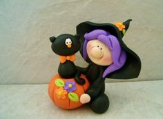 Halloween Witch and Black Cat  Figurine by countrycupboardclay