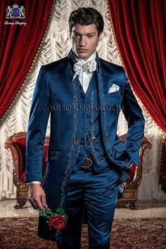 BAROQUE ITALIAN BLUE WEDDING SUIT Model  1259   OTTAVIO NUCCIO GALA   Italian bespoke blue satin Korean frock coat with silver floral embroidery and Mao collar, style 1259 Ottavio Nuccio Gala, 2015 Baroque collection.