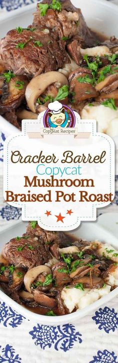 Make your own delicious Cracker Barrel Mushroom Braised Pot Roast with this easy copycat recipe. Make your own delicious Cracker Barrel Mushroom Braised Pot Roast with this easy copycat recipe. Roast Recipes, Crockpot Recipes, Cooking Recipes, Bison Recipes, Healthy Recipes, Cracker Barrel Recipes, Copykat Recipes, Crock Pot Cooking, Beef Dishes