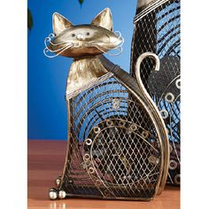 Deco Breeze DBF0257 Small Cat Figurine Fan (Metal) ($50) ❤ liked on Polyvore featuring home, home decor, fans and standing fans