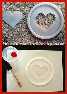 use lids for making a stencil and tracing shape - many ways to use from trace and color in to sponging in the stencil