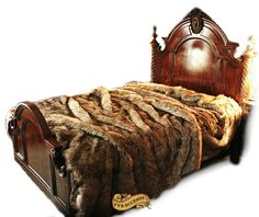 Plush Faux Fur Bedspread - Golden Brown Wolf - Coyote Design Designer Pillows Shams Bedding Area Rugs and Throw Blankets by Fur Accents USA