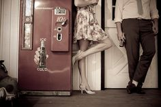 50's themed engagement shoot